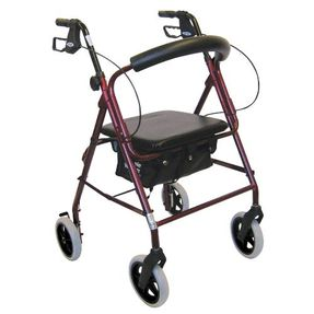 Rollator, walker with four wheels and seat